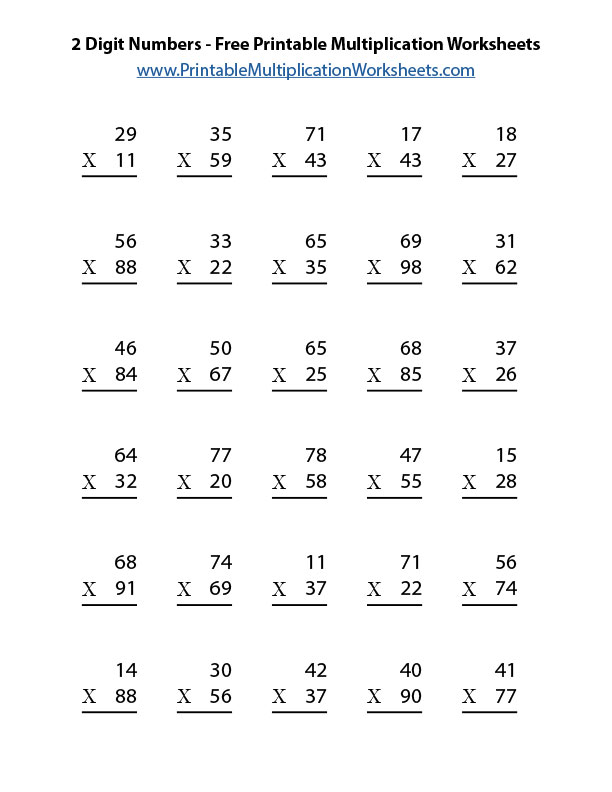 picture about Number 2 Printable identified as 2 Digit Figures Totally free Printable Multiplication Worksheets