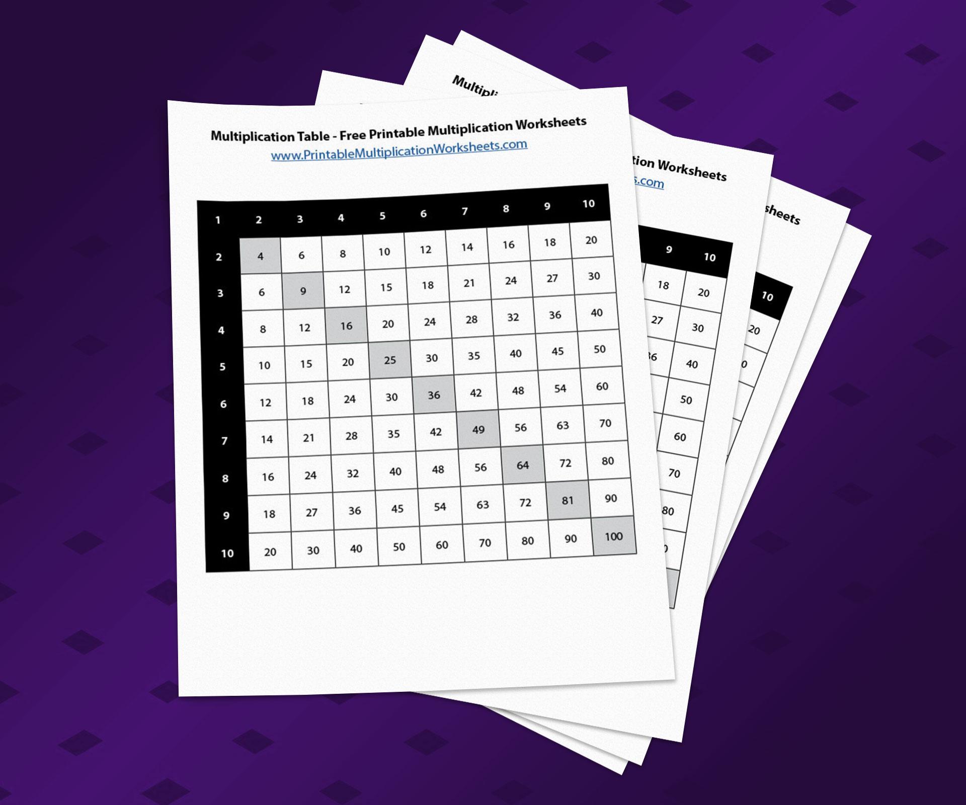 Multiplication Table - Free Printable Multiplication Worksheets PDF