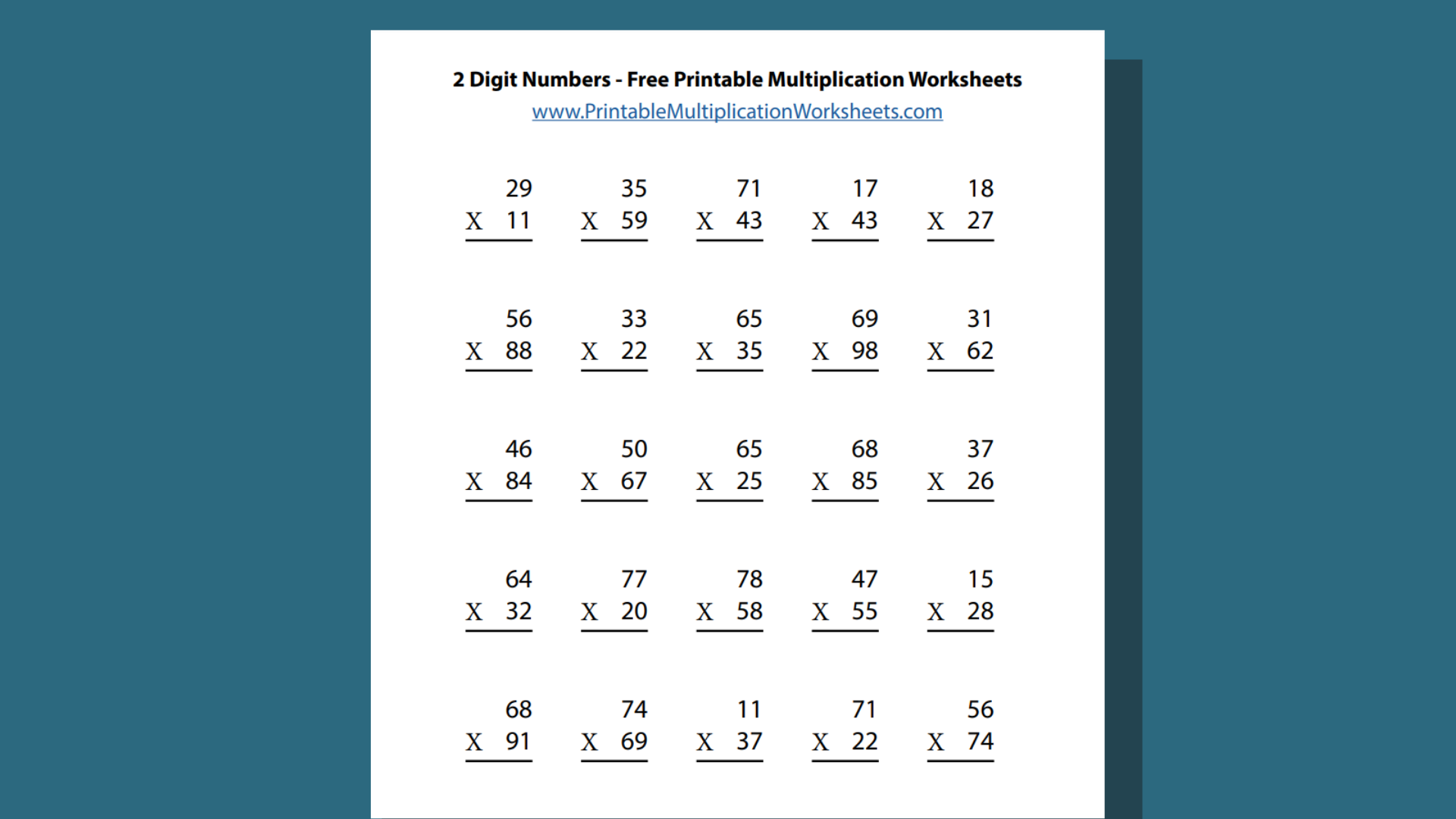 2 Digit Numbers - Free Printable Multiplication Worksheets FEATURED